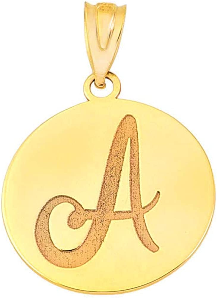 Certified 10k Yellow Gold Personalized Name Initial Letter Disc Reversible Pendant