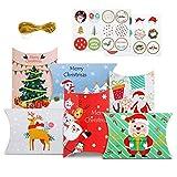 GWHOLE 24 Cajas para Dulces Navidad de Forma Almohada Plegable Caja para Navidad...