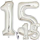 Luftballons Zahl 15. Geburtstag XXL Silber,Riesen Helium Folienballon Figuren in 2 Größen 40' & 16' | Set XXL 100cm + Mini 40cm Geburtstagsdeko | Vier Zahlen | Ideal 15. als Jahre Mädchen Junge Deko