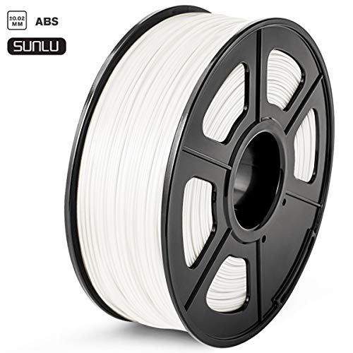 SUNLU ABS Filament 1.75mm 3D Printer Filament ABS 1kg Spool (2.2lbs), Dimensional Accuracy of +/- 0.02mm ABS White