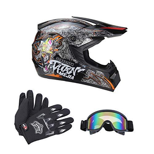 Senhill DOT Motocross Helmet Unisex Offroad Helmet Dirt Bike ATV Motorcycle Helmet Gloves Goggles (Black, L)