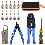 Glarks Coaxial Cable Tool Set, Coax RF Connector Crimping Tool + Coaxial Cable Stripper + BNC/UHF Crimp Male Connectors + Wire Cutter + Screw Driver for RG58, RG59, RG62, RG174