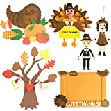 VALUABLE SET. This craft kits set includes 3D Family Tree, Turkey Door Sign, 2 x Thanksgiving Characters Decor, Thanksgiving Photo Frame, and Cornucopia EASY AND CREATIVITY. The whole set provides foam stickers with double side adhesive and the instr...