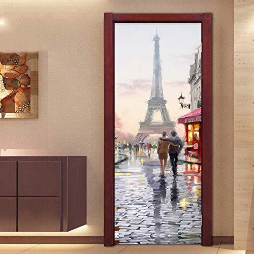 3D Türtapete Pariser Turm Ölgemälde 88 * 200cm Kunst Tür Poster Türaufkleber selbstklebende abnehmbare Türfolie Türtapete für Schlafzimmer, Bad und andere Innentüren