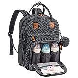 Wickelrucksack Baby Wickeltasche Rucksack Groß, Windeltasche Babytasche Für Unterwegs Mit 15,6 Zoll Laptopfach, USB-Ladeanschluss, Schnullerhalter Und Kinderwagengurte, Dunkelgrau B