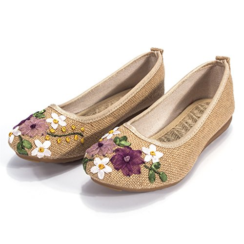 Top 10 best selling list for dodoing embroidery chinese style flat ballet slip on shoes