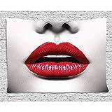 ZWBBO Tapiz Pintalabios cosmético de Tapiz Rojo y Negro en Colores Vivos Atractivos Foto de Modelos de Labios Colgante de Pared para Sala de Estar de Dormitorio Dormitorio (130X150cm)