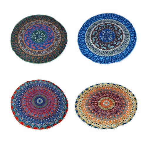 4 Pack 32' Round Pillow Cover, Decorative Mandala Pillow Sham, Indian Bohemian Ottoman Poufs, Pom Pom Pillow Cases, Big Outdoor Cushion Cover For Home...