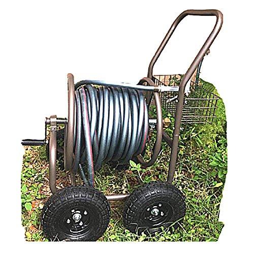 Heavy Duty Garden Hose 200 ft Metal Reel Cart 4 Wheels Resistant Steel Storage Water Rolling Caddy Basket Mobile & ebook
