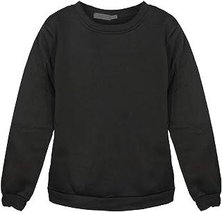 IPOTCH Autumn Round Neck Long Sleeve Sweatshirts Jumper Unisex Loose Top Oversized Jumper