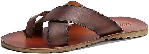FLYA Sandales de Plage pour Hommes Sports Sports d'été Jeunes Chaussures de Plein air Sandales et Pantoufles Chaussures de Sport,marron-38EU