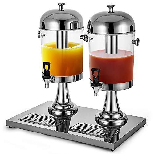 PURMILE 16L/4.2 Gallon Cold Drink Dispenser Heavy Duty Koud Juice Drink Commerciële Drank Dispenser Dual Bowl Juicer Dispenser 2x8Liter BPA Gratis Roestvrij Staal Ontbijtbuffet Bars Hotels