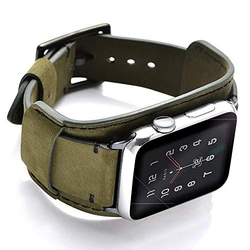 CooBES Correa Compatible con Apple Watch 40 mm 38 mm, Vintage Pulsera Cuero Genuino Banda de Bucle Acero Inoxidable de Repuesto para iWatch Series 6/5/4/3/2/1 SE Mujeres Hombres (44/42mm, Verde)