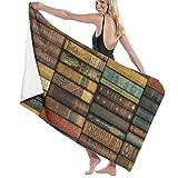 xcvgcxcvasda Serviette de Bain, Microfiber Bath Towels for Kids Body, Vintage Books Quick Dry & Oversize Towels, Super Lightweight Travel Towels, Esistant Multipurpose for Home Hotel and SPA