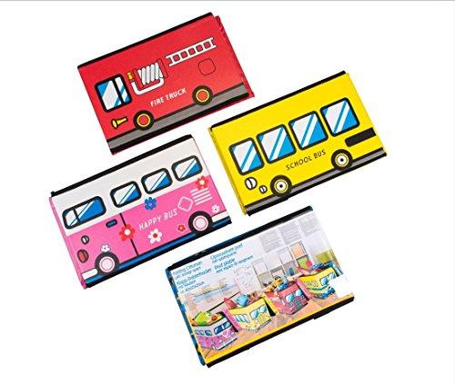 Opbergbox met gewatteerd deksel, motief Train Tog Waggon in geel bont, opvouwbaar, gestoffeerde kruk, zitkruk, 40 cm x 25 cm x 25 cm, zitbox, zitbank, kruk, kist, kunstleer, klapbox, speelgoedkist, afwasbaar