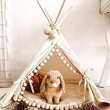 MINICAMP Kanin tipi-tält med pom-kudde – säng för kaniner i beige – sängkläder för små husdjur