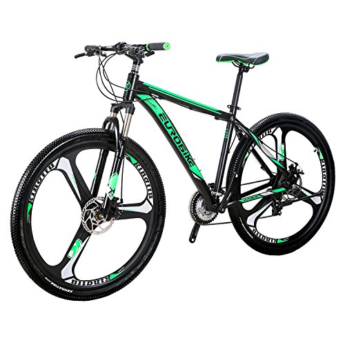 Eurobike EURX9 Mountain Bike 21 Speed 3-Spoke 29 Inches Wheels Dual Disc Brake Aluminum Frame MTB Bicycle Blackgreen