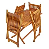 IHD Akazienholz Gartensitzgruppe 5tlg Gartentisch mit 4 Gartenstühlen klappbar - 4