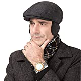 SFGHOUSE Gorra plana Tweed Otoño e Invierno Estilo Tradicional Gatsby Newsboy Driving Cap Boina Sombrero con Orejeras Ajustables