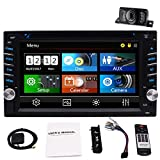 2 Din Car Stereo with Touch Screen Bluetooth Car Radio in Dash Headunit DVD CD Player Double Din Car Radio Receiver with GPS Map Card/Backup Camera/AM FM RDS/Steering Wheel Control/Remote Control/USB
