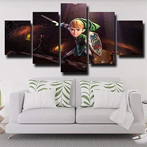 13Tdfc Cuadro En Lienzo 150X80Cm La Leyenda De Zelda Link Cartoon Impresión De 5 Piezas Material Tejido No Tejido Impresión Artística Imagen Gráfica Decor Pared