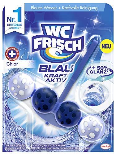 WC FRISCH Kraft Aktiv Blauspüler Chlor, WC-Reiniger und Farbspüler für hygienische Sauberkeit, mit 50 Prozent mehr Glanz 1 Stück