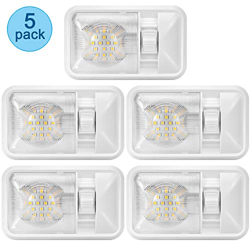 Kohree 12V Led RV Ceiling Dome Light RV Interior Lighting for Trailer Camper with Switch, Single Dome 320LM Each (Pack of 5)