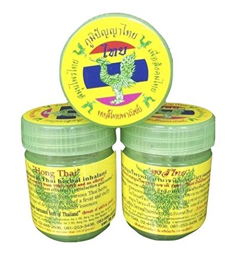 """Mmablast, Kräuter-Inhalationsmittel """"Hong Thai"""", zum Inhalieren gegen Schwindelgefühle, Set mit 3 Gläsern, je 20 g"""