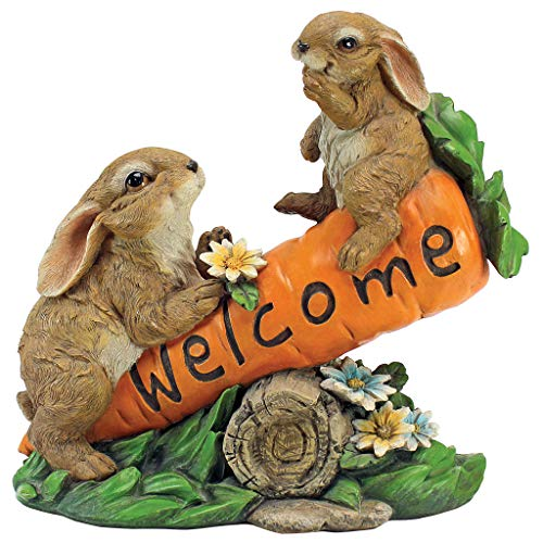 Design Toscano HF317387 Bunny Bunch Rabbits Outdoor Garden Statue Welcome Sign, 10 Inch, Full Color