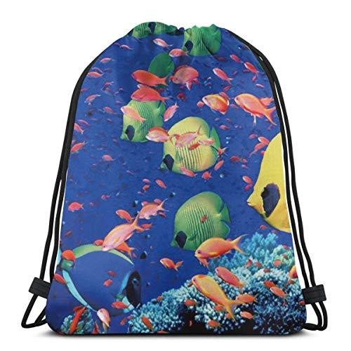 Dingjiakemao Einzigartiger Rucksack-Rucksack mit Kordelzug - Robuster Polyester-Schulter-Outdoor-Saitensackpack, Fisch-Unterwasser-Seerucksack, Student Party Supplies-Geschenktüte