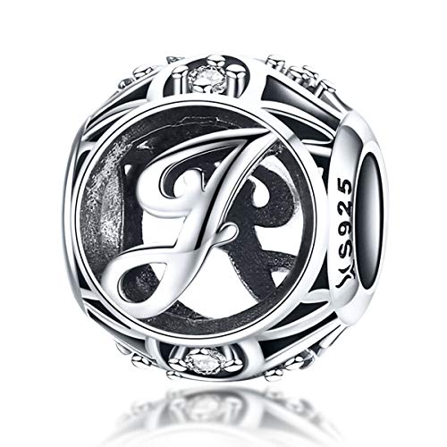 Initial A-Z Alphabet Charm Letter Charm 925 Sterling Silver Charms Dangle Charm for Bracelet Fits European Necklace Compatible Mothers Day Gift With Box (J)