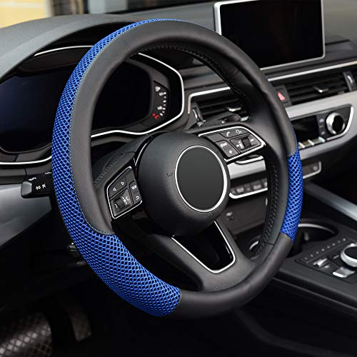 KAFEEK Steering Wheel Cover, Universal 15 inch, Microfiber Leather Viscose, Breathable, Anti-Slip,Warm in Winter and Cool in Summer, Black&Blue