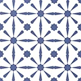 Caltero Geometric Contact Paper 17.7''×118'' Graphic Tile Wallpaper Blue White Contact Paper Peel and Stick Backsplash Wallpaper for Kitchen Walls Closet Cabinet