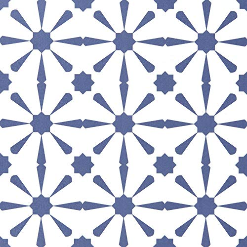 Caltero Geometric Contact Paper 17.7''×118'' Graphic Tile Wallpaper Geometric Wallpaper Blue White Contact Paper Peel and Stick Backsplash Wallpaper for Kitchen Walls Closet Cabinet
