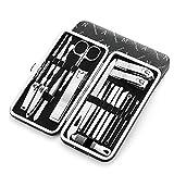 Set de manicura masculina con estuche de cuero negro de 20 piezas, juego de cortaúñas profesional con herramientas de aseo de acero inoxidable para viajes y hogar