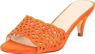 Cambridge Select Women's Open Toe Laser Cutout Slip-On Mid Heel Mule Slide Sandal