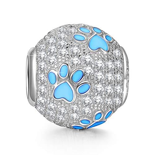 NINAQUEEN Pandora Charms angepasste Charm Geschenke für Frauen Muttertagsgeschenk für Mama Hund Pfotenabdrücke Silber 925 Antibakterielle Eigenschaften mit Schmuckkästchen Damen Mamas Schmuck