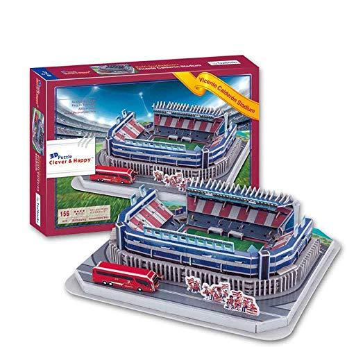 WAN Modelo de Rompecabezas Deportivo en 3D, Levante Unión Deportiva Estadio Vicente Calderón Modelo de Estadio Deportivo (14.9 Pulgadas X10.1 Pulgadas X3 Pulgadas)