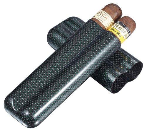 Visol Products VCASE494 'Cartenium' 2-Finger Carbon Fiber Cigar Case, Titanium