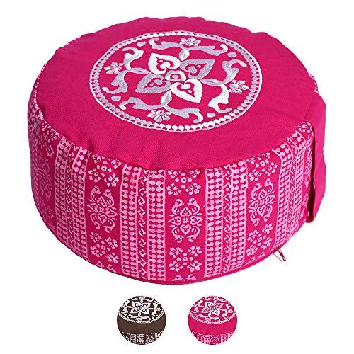 Lotus Design Meditationskissen/Yogakissen rund, Block Print Style, 15 cm hoch, Bezug 100% Baumwolle waschbar, Yoga-Sitzkissen mit Buchweizenschalen, sozial und fair hergestellt