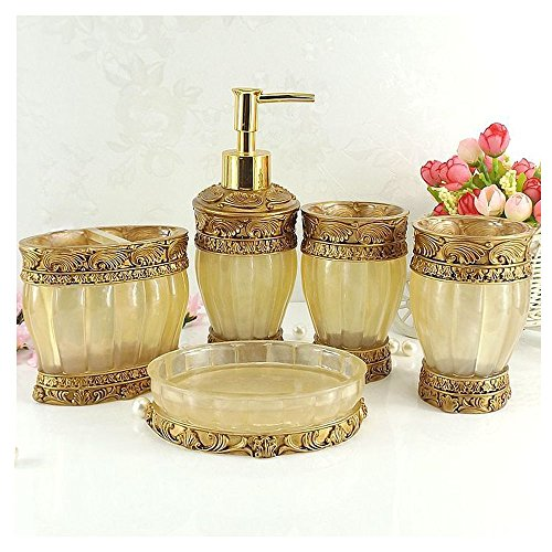 LUANT Vintage Golden Bathroom Accessories, 5Piece Bathroom Accessories Set, Bathroom Set Features, Soap Dispenser, Toothbrush Holder, Tumbler & Soap Dish - Golden Glossy - Bath Gift Set