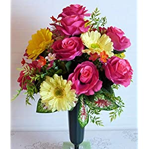 Cemetery Flowers for Easter, Spring Cemetery Flowers with Pink Roses, Cemetery Vase with Daisies