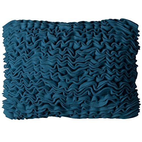 Rizzy Home Solid Forro Polar de Volantes Frontal Decorativo Almohada, Azul, 13Pulgadas x 18Pulgadas