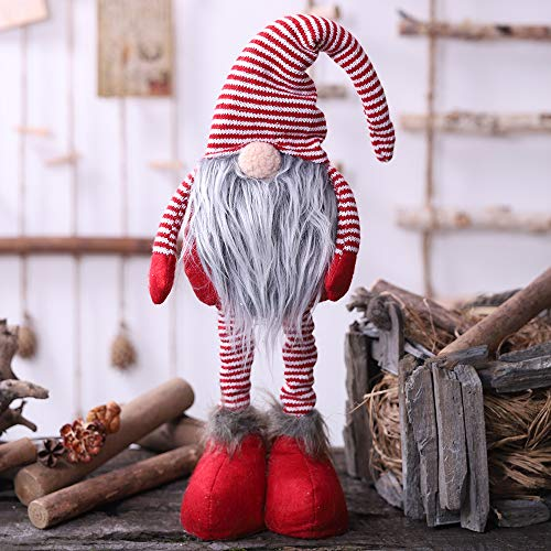 Oternal Handmade Swedish Gnome Scandinavian Tomte Yule Santa Nisse Nordic Figurine Plush Elf Toy Home Decor Winter Table Ornament Christmas Decorations Holiday Presents  24 Inches Red