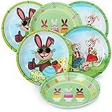 com-four® 6 Platos de Pascua de melamina - Platos Decorativos para Pascua - Canasta de Pascuaa [la selección varía] (6 Piezas - Plato de Pascua)
