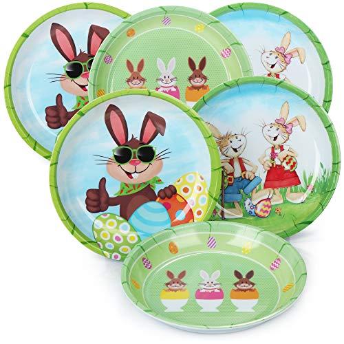 com-four 6 Platos de Pascua de melamina - Platos Decorativos para Pascua - Canasta de Pascuaa [la selección varía] (6 Piezas - Plato de Pascua)
