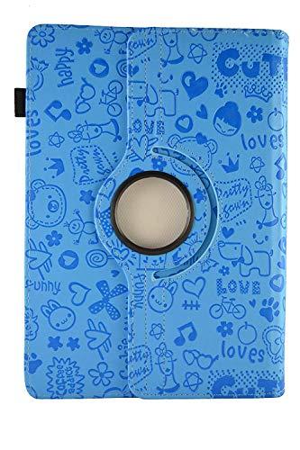 Theoutlettablet® Funda de diseño Original Azul de Dibujos y función Giratoria para Tablet SPC Glow/Gravity/Heaven/Twister 10.1'
