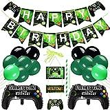 35 Stück Videospiel Party Zubehör,Game Party Luftballons,Alles Gute zum Geburtstag Banner und Game ON Gamepad-Ballon,Luftballons Geburtstag Junge,Videospiel-Thema Geburtstagsdeko für Kinder Jungen