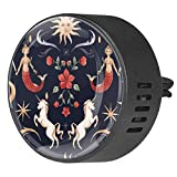 Car Diffuser Aromatherapy Essential Oils Air Freshener 2PCS Kit With Vent Clip magic unicorn mermaid stars sun moon Middle Ages dragon flower