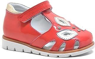 Hakiki Deri Kırmızı Rugan Ortopedik Cırtlı Kız Bebek Sandalet